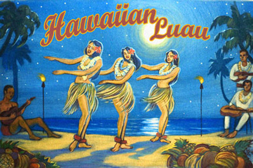 Hawaiian Luau Vintage Coastal Decor Poster Art