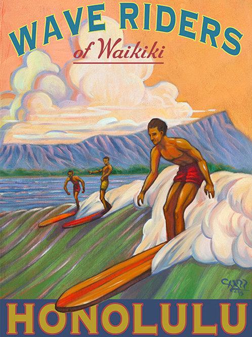 Wave Riders of Waikiki Vintage Hawaii Coastal Art