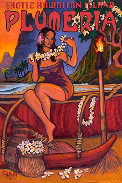 Exotic Hawaiian Island Plumeria Vintage Art Print