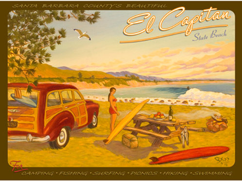 El Capitan Vintage California Surf Art Print