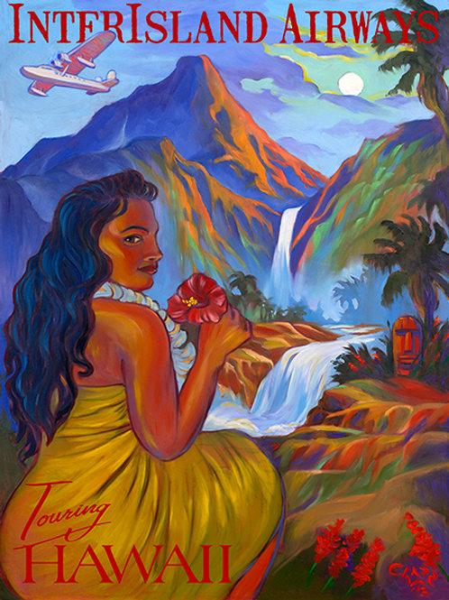 Hawaiian InterIsland Touring Retro Tiki Art Poster