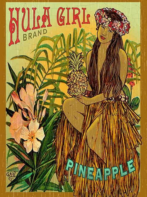 Hula Girl Brand Pineapple Vintage Hawaiian Art