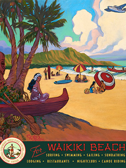 Waikiki Beach Hawaiian Vintage Travel Poster Art