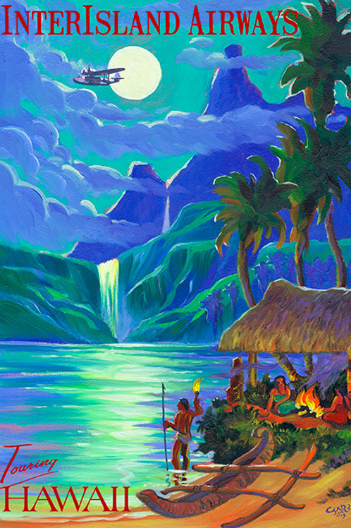 InterIsland Air Vintage Hawaiian Travel Poster Art