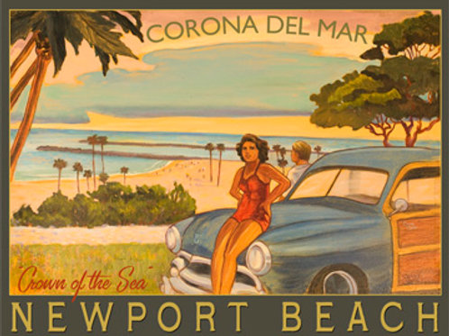 Corona Del Mar Newport Beach Retro Surf Poster Art