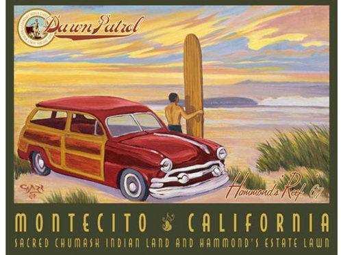 Dawn Patrol Montecito Vintage California Art Print