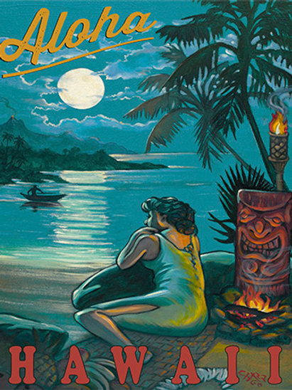 Wahine Waiting Retro Tiki Art Poster