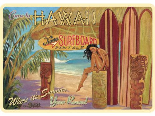 Kona Surfboard Rentals Retro Tiki Art Home Decor