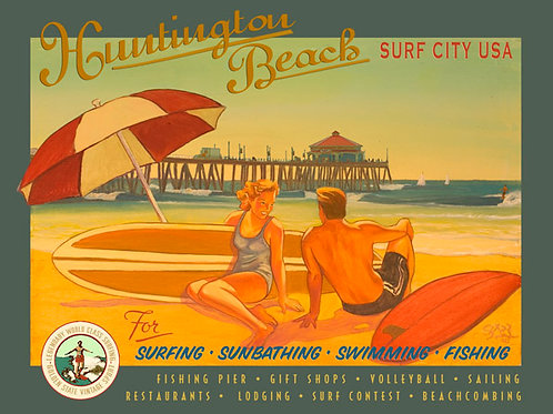 Huntington Beach Surf City USA Vintage Califorinia