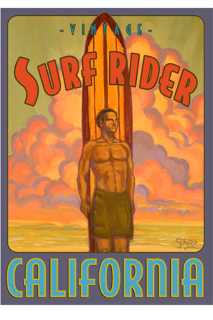 Vintage Surf Rider California Retro Surf Art