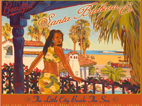 Santa Barbara Wharf Vintage California Art