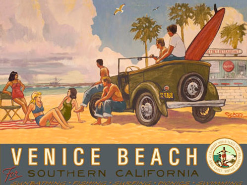 Venice Beach Jetty California Vintage Surf Art