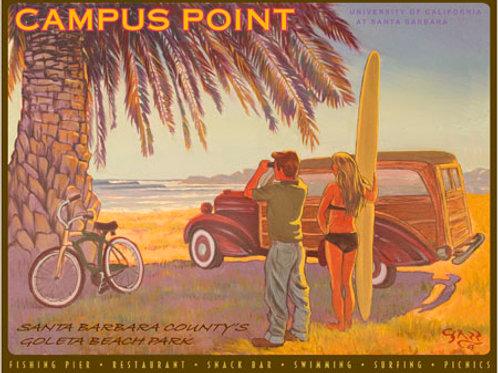 Santa Barbara Campus Point Vintage Art Print