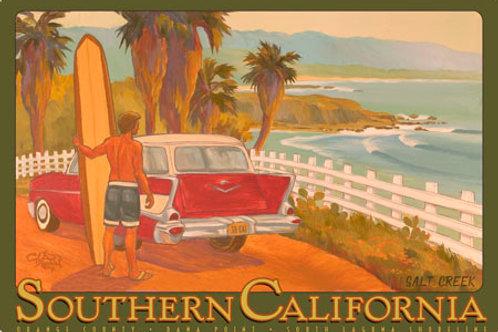 Dana Point Salt Creek Vintage California Art Print