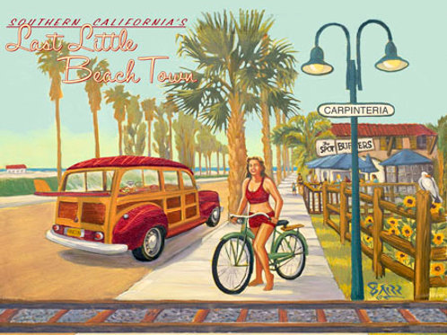 Last Little Beach Town Vintage Art Print