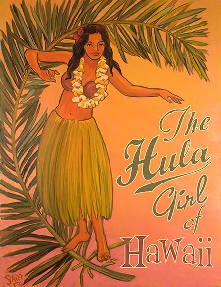 vintage hawaiian hula girl art