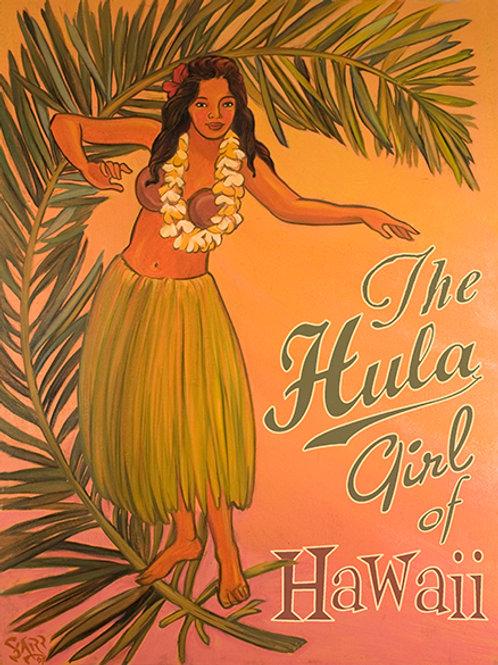 The Hula Girl Vintage Hawaiian Art Print