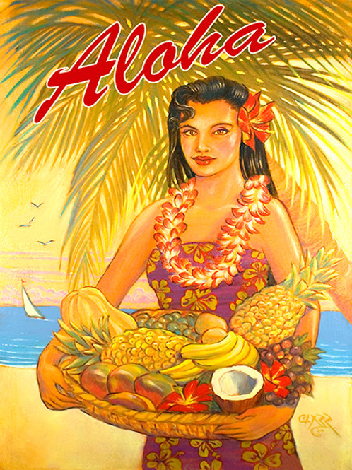 Aloha Fruit Basket Vintage Hawaii Art Print