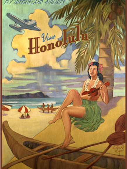 Honolulu Hawaii Vintage Travel Poster Art
