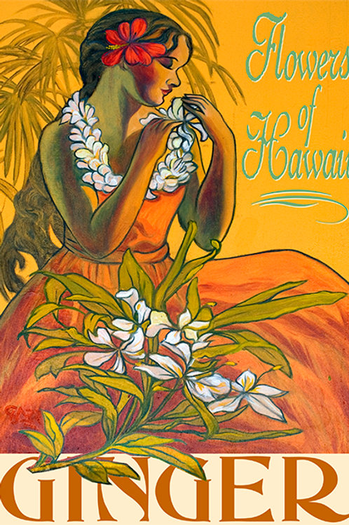 Ginger Flower of Hawaii Vintage Art Print