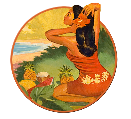 Rick Sharp Vintage Art painting of Hula Girl at Sunset Beach