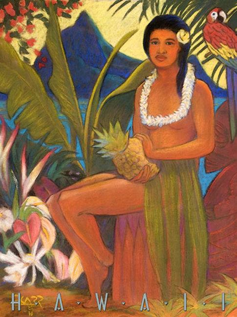 Old Hawaii Vintage Hula Girl with Pineapple Art