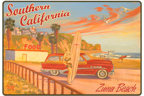 Zuma Beach Malibu California Vintage Surf Art