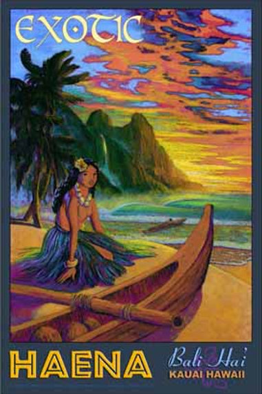 Haena Kauai Hawaiian Vintage Hula Girl Art