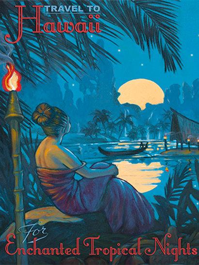 Moonrise Over Lagoon Vintage Hawaii Art Print