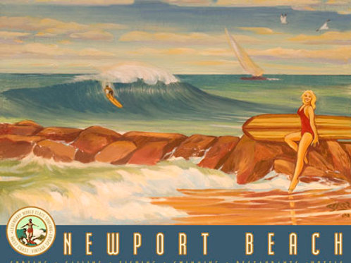 Newport Jetty Vintage California Retro Surf Poster