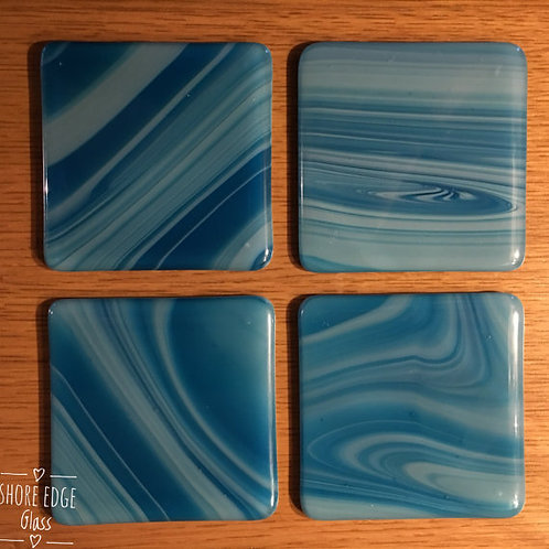 Fused Glass Coasters Blue Ripple