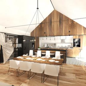 Interiér rodinného domu v selském moderním stylu