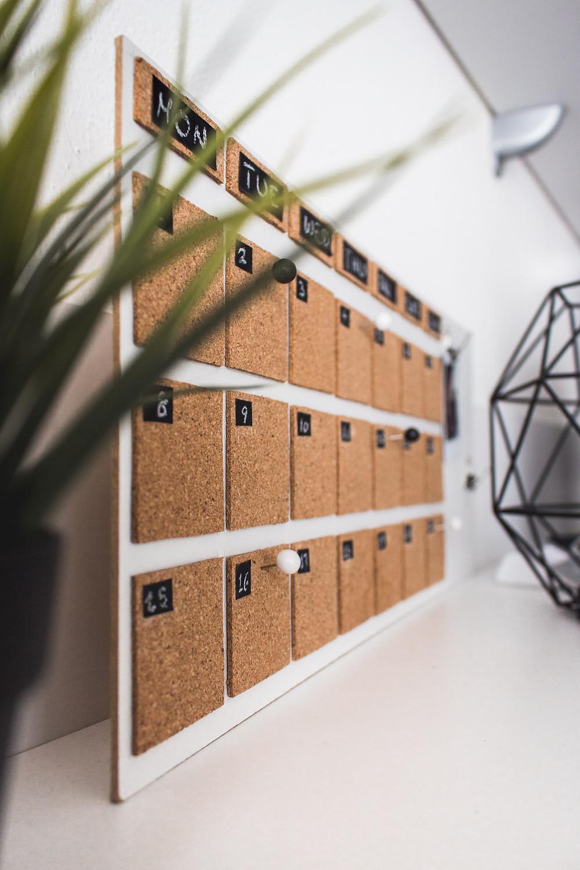 corkboard calendar / fully grown