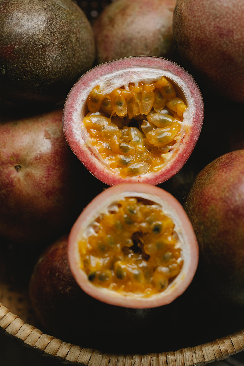 passionfruit cut in half / fully grown