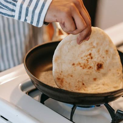 homemade naan bread.