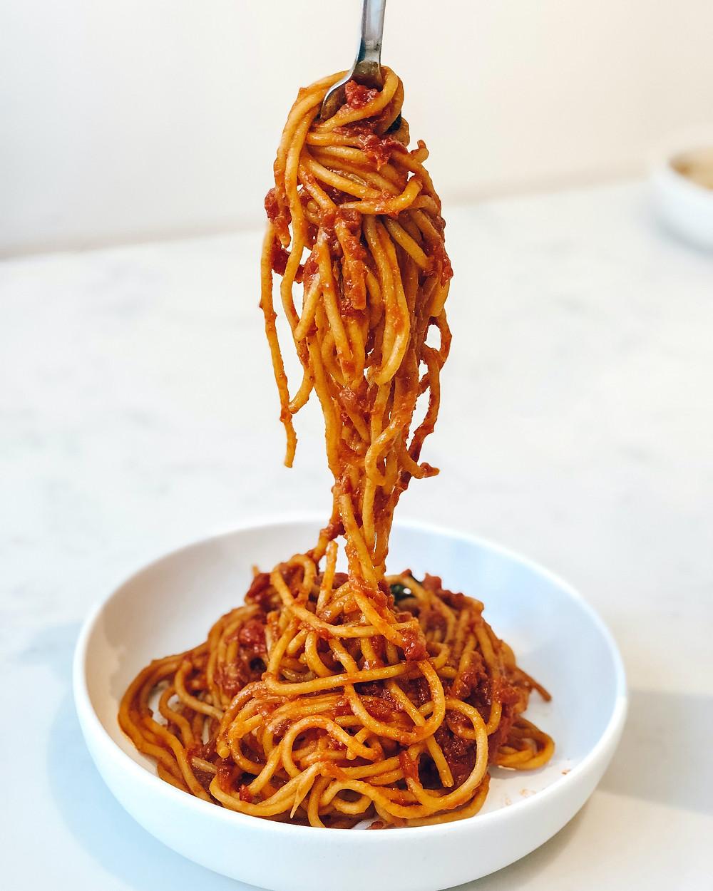 spaghetti in a bowl / fully grown