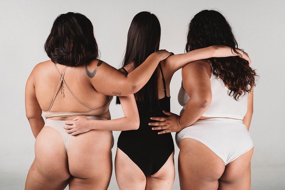 diverse group of women in their underwear / fully grown