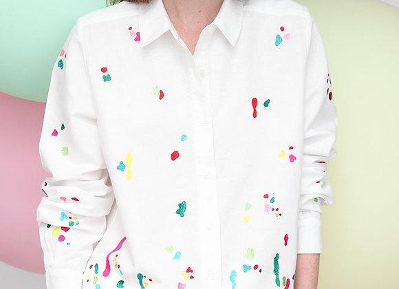 Villagallo Paint splatter embroidered shirt
