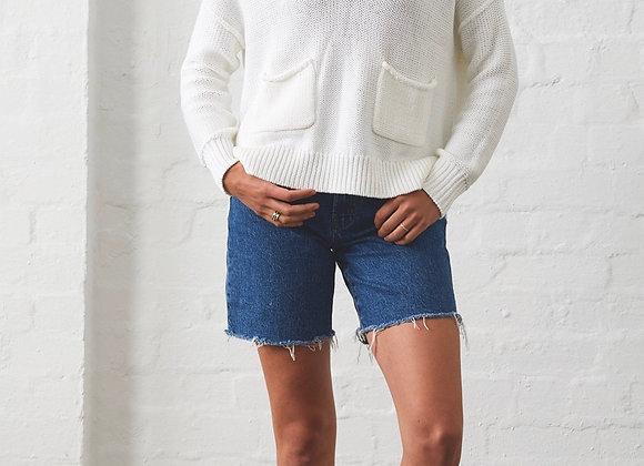 V neck 2 pocket easy sweater