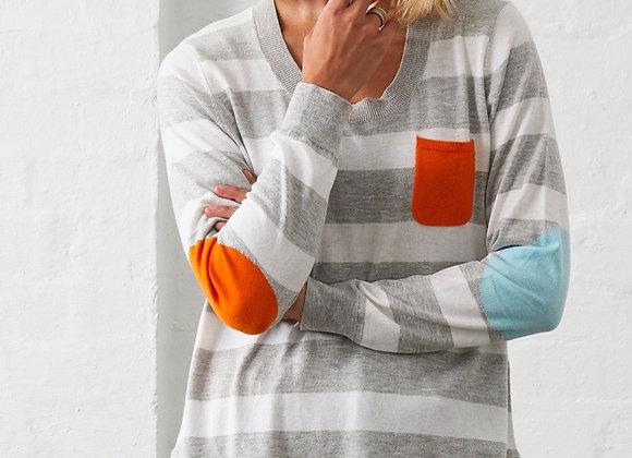 Multi stripe patch cotton sweater