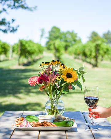 A womens hand setting a glass of red wine next to a charcuterie spread in Amherstburg, Ontario