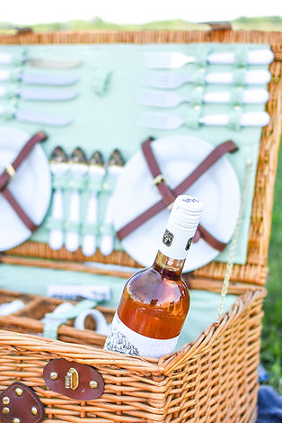 A picnic basket with a bottle of Vivace Brillante Rose in Amherstburg, Ontario