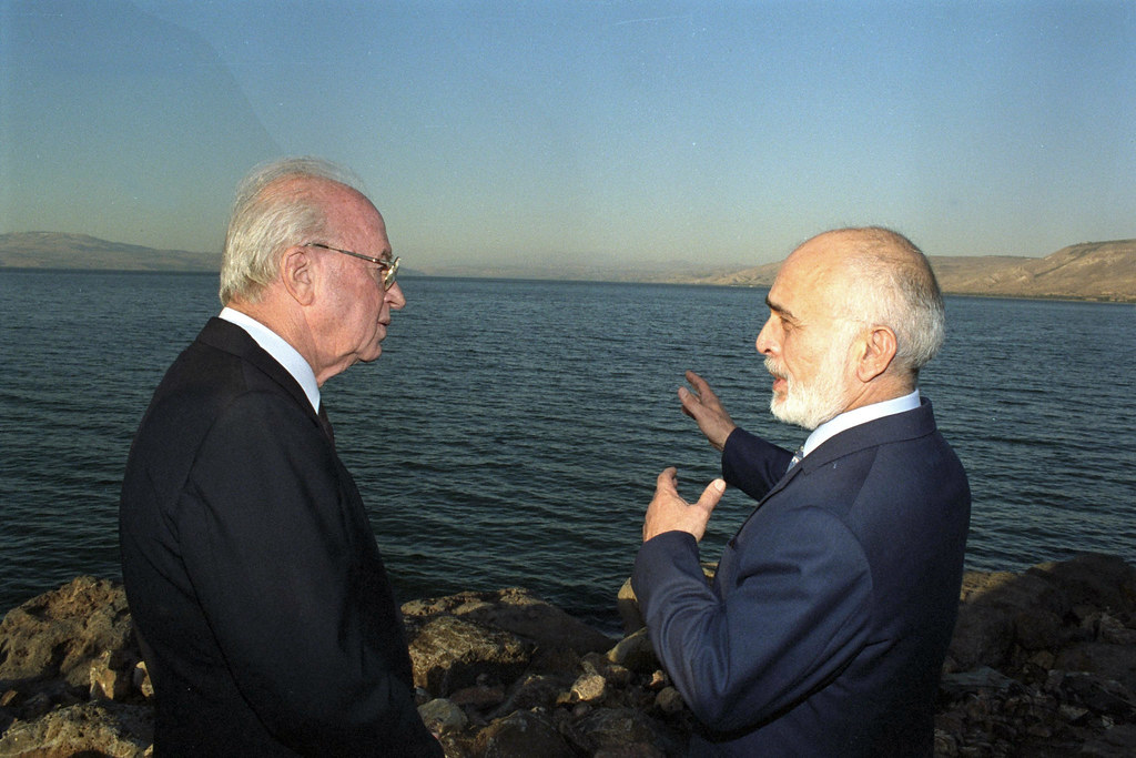 המלך חוסיין וראש הממשלה יצחק רבין