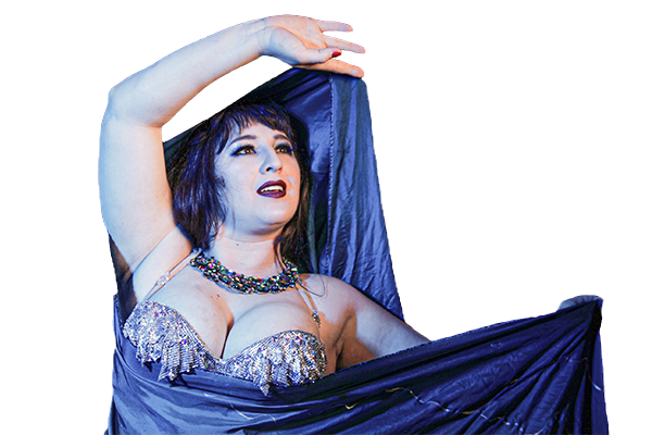 Dancer, posed with veil, looking to side. Dancer is brunette with a blue and silver costume
