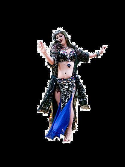 Bellydancer wearing an assuit costume, dancer is mid-movement