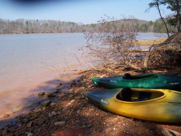 A yellow kayak and a green kayak next to a lake.