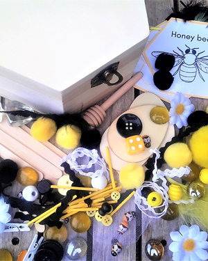 Build a bee loose parts treasure box
