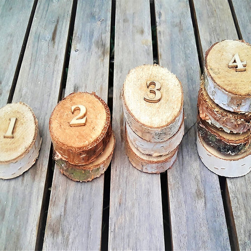 Wooden number slices for number recognition and numeracy games
