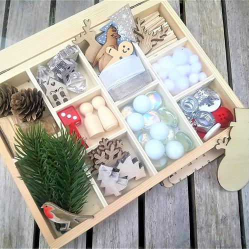 Winter themed tinker tray for loose parts play