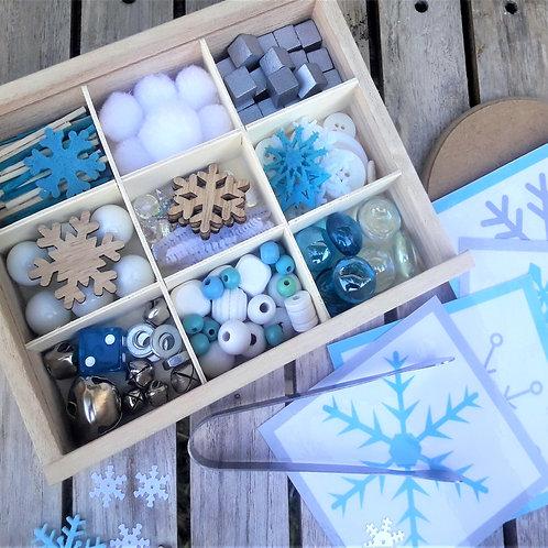 Build a snowflake loose parts kit